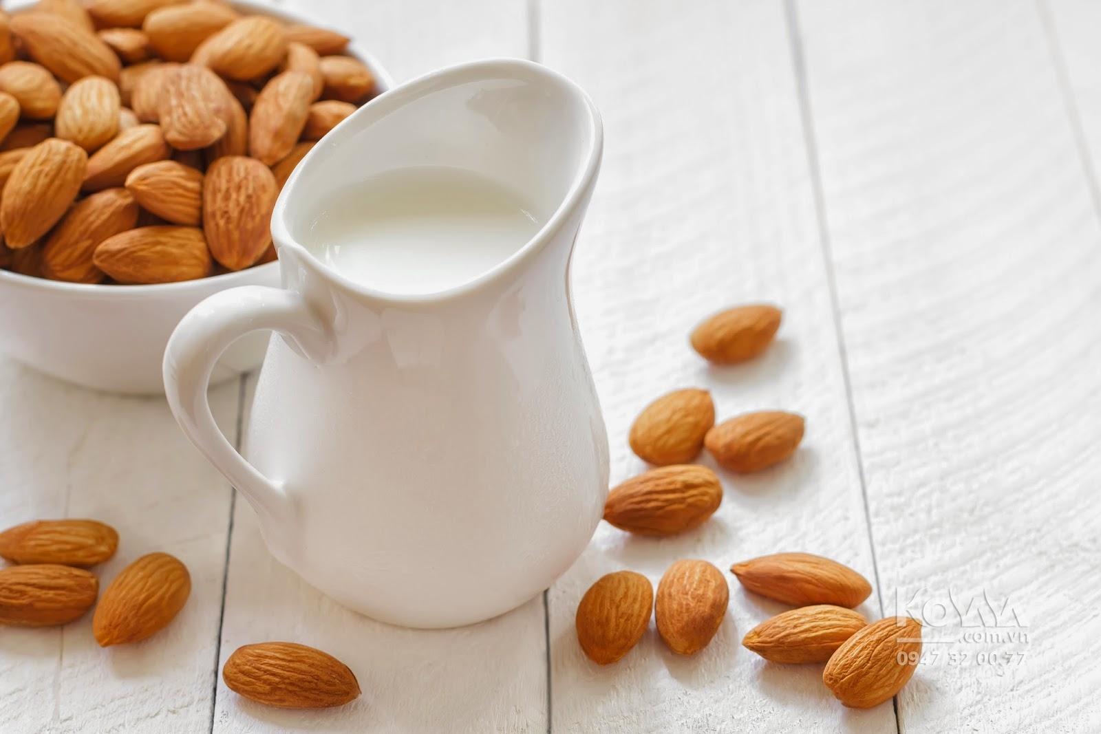 dùng sữa hạt cho bé, sữa hạt hạnh nhân